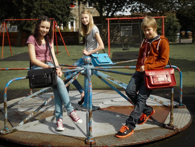 Boys and Girls 14.5 Inch Classic Collection Leather Satchel, £76