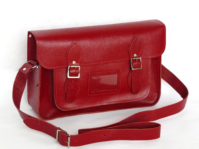 Boys and Girls 14.5 Inch Classic Collection Red Leather Satchel, £76