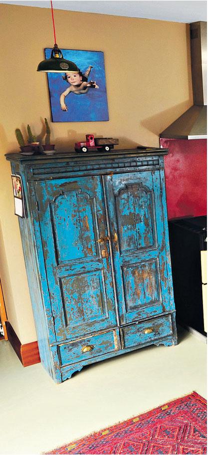 blue vintage armoire