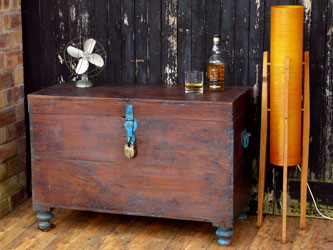 Old Wooden Chest With Vintage Accessories