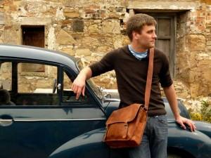 Medium Wide Vintage Brown Leather Satchel