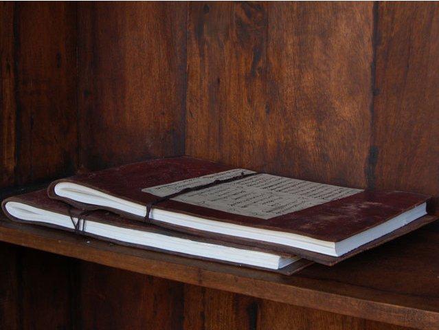 Antique Brown Leather Embossed Sketchbook, £49