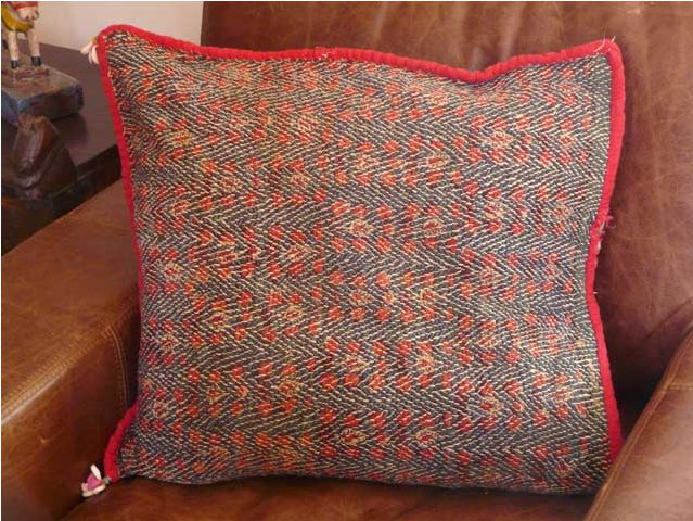 Red and Blue Vintage Embroidered Banjara Cushion, £90