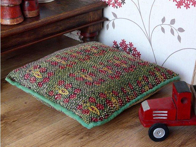 Green, Red and Yellow Vintage Embroidered Banjara Cushion, £45