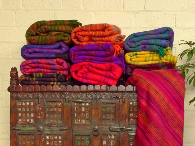 Colourful Striped Woolly Blankets, £15