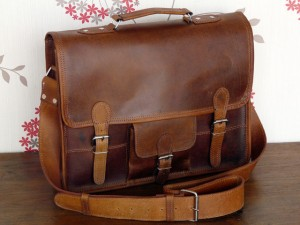 15 Inch Leather Satchel By Scaramanga £77