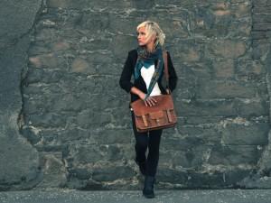 A Scaramanga Vintage Style Leather Satchel