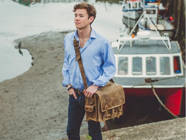 Men's Medium Leather Overlander Bag, £135, by Scaramanga