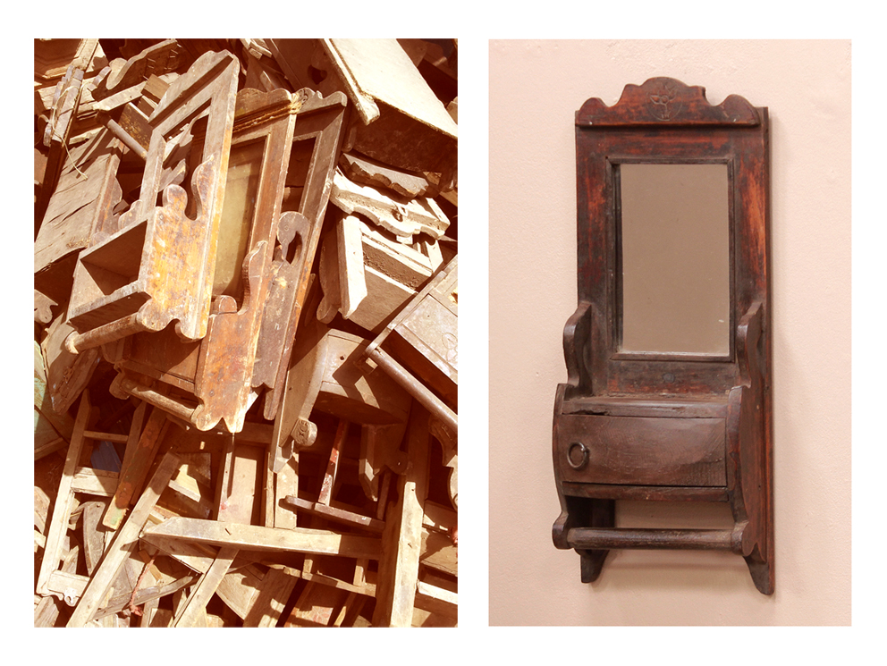Vintage shaving mirrors before and after their restoration