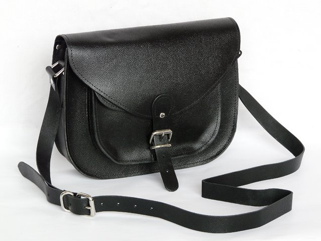Classic Black Leather Saddle Bag, £52