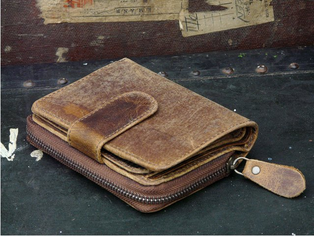 Distressed Brown Leather Purse, £37.50