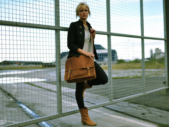 Large Wide Leather Satchel, £85