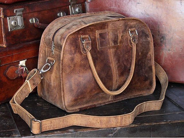 Small Vintage Leather Travel Holdall, £110