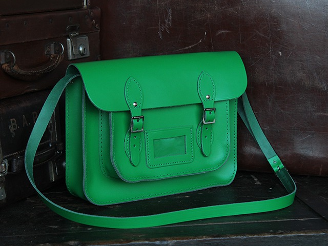 13 Inch Green Leather Satchel, £80