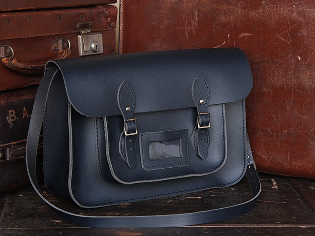 15 Inch Navy Blue Leather Satchel, £90