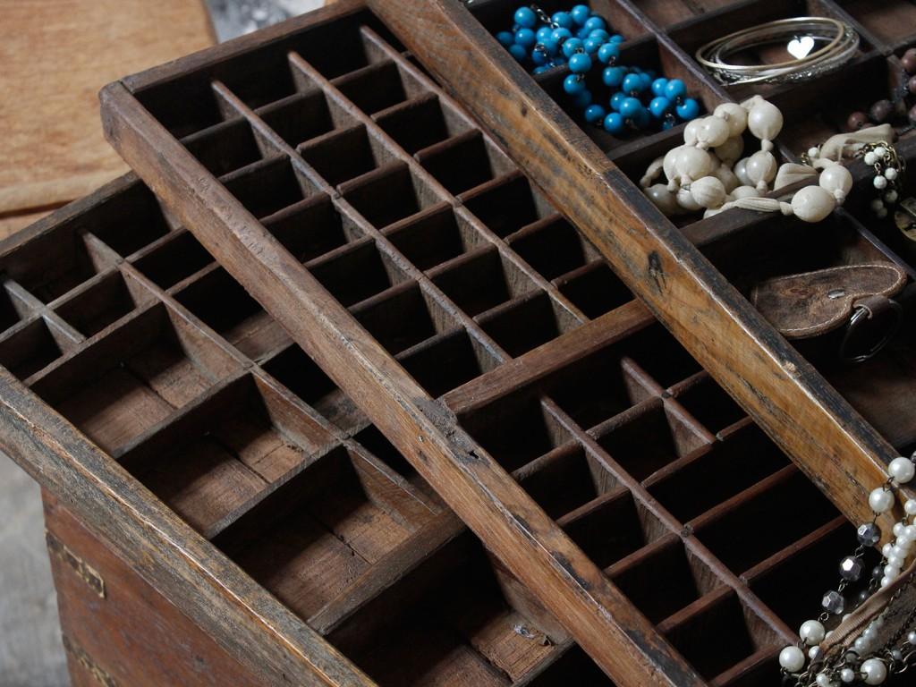 vintage printing block trays