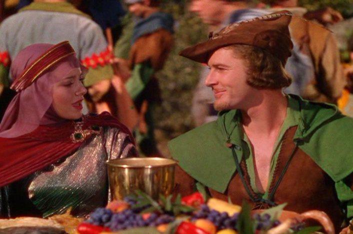 Errol Flynn as Robin Hood with Olivia De Havilland as Maid Marian