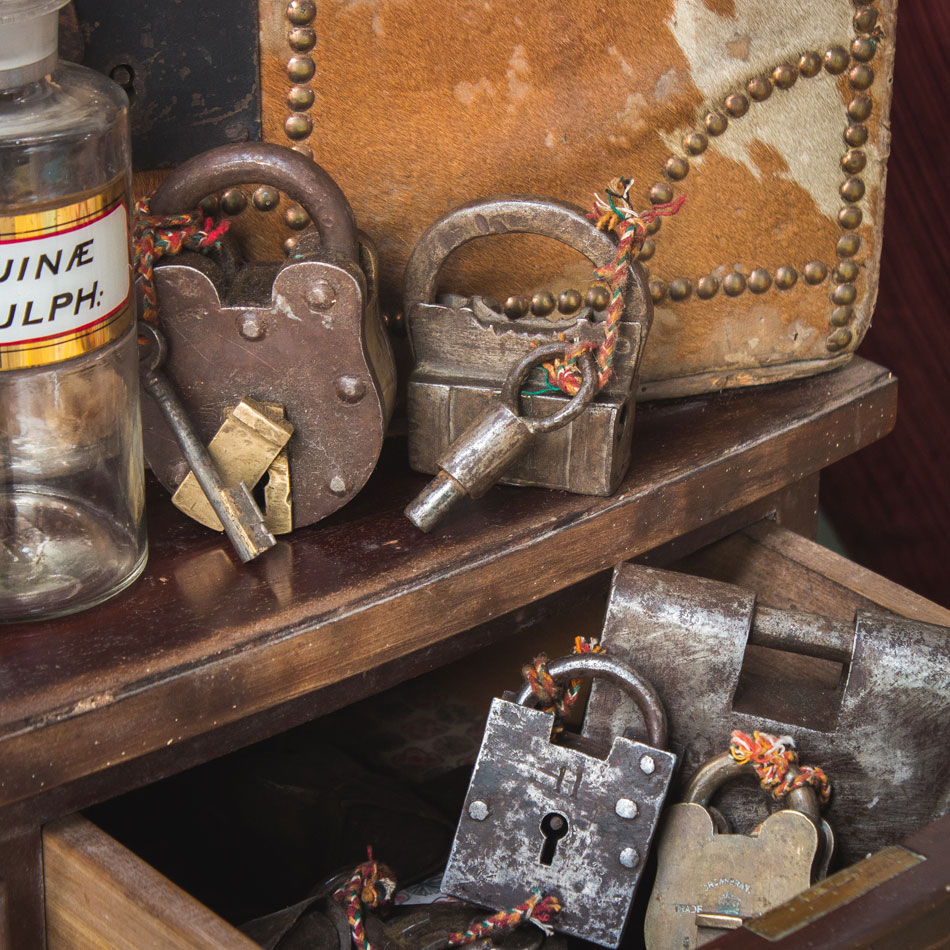 antique padlocks and chemsist bottles