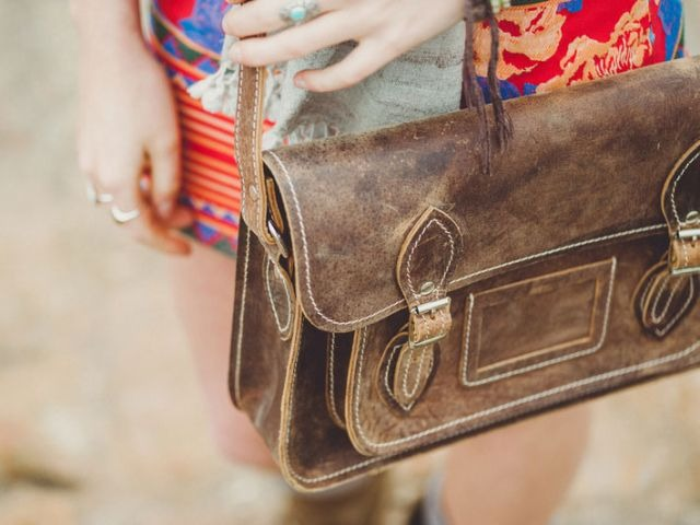 Distressed brown leather 13-inch satchel, £75