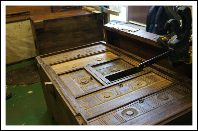 An antique teak wedding chest