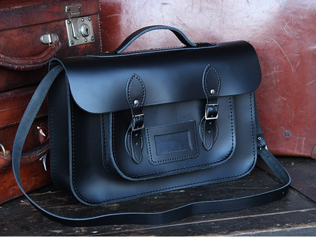 Black Leather 15 Inch Classic Satchel with Handle, £99