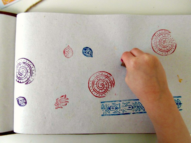 Little hands are great with stamps