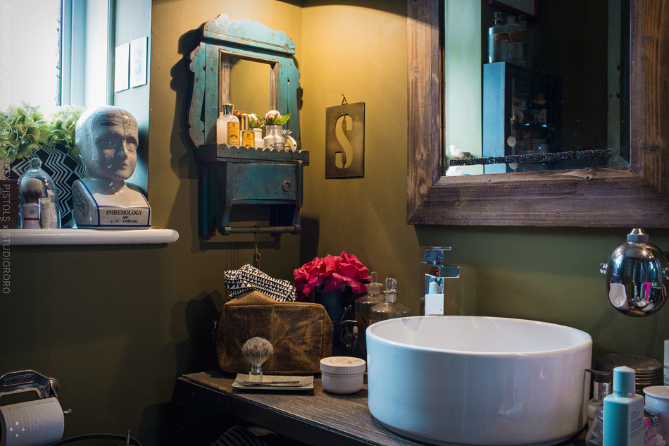 blue vintage bathroom mirror and cabinet