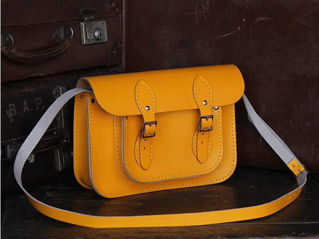 Yellow Leather Satchel 11 Inch, £70