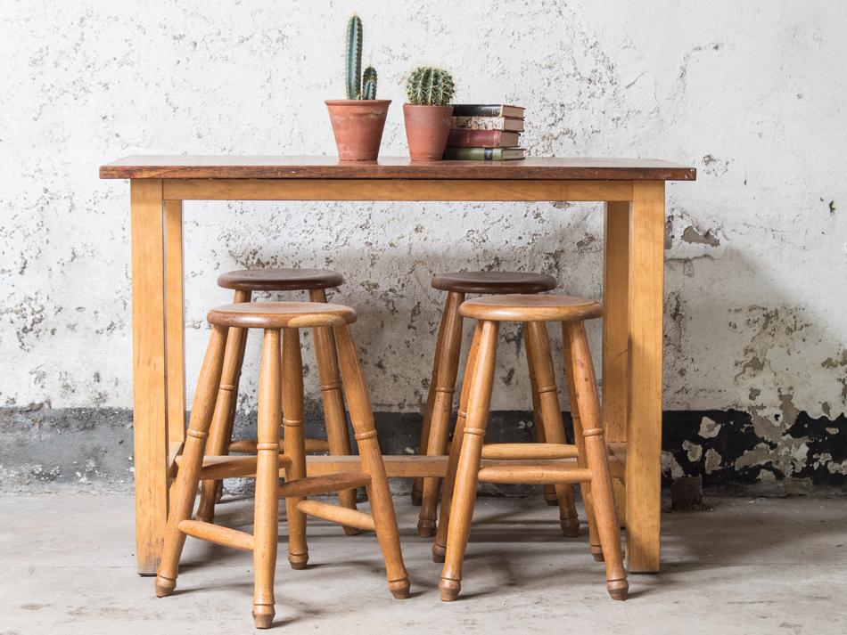 Vintage science lab table with oak srools