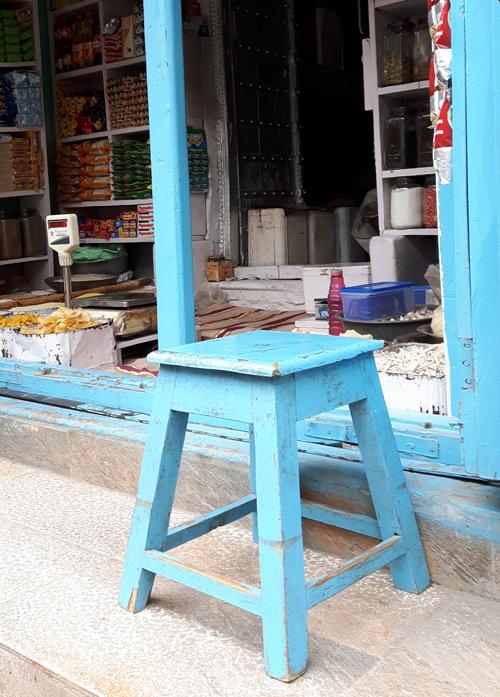 vintage blue stool