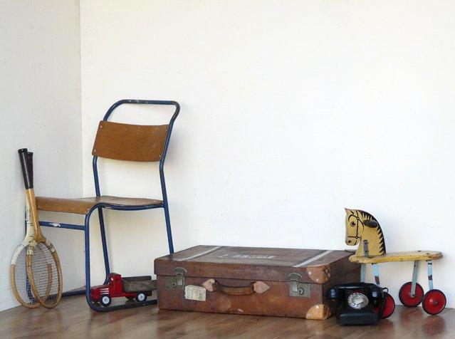 Vintage Monogrammed Brown Leather Suitcase, £130