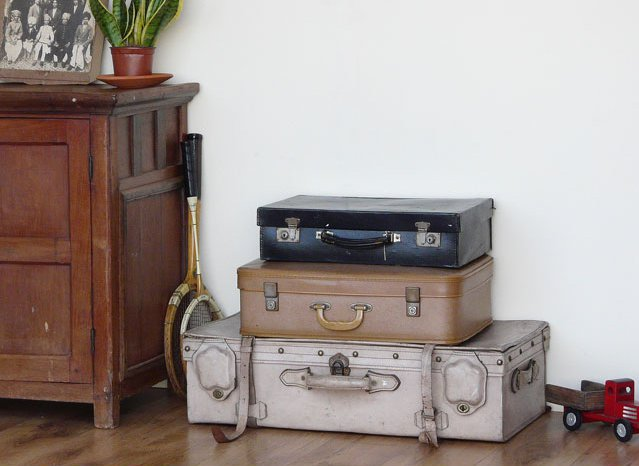 Old Black Monogrammed Leather Suitcase with Blue Lining, £40