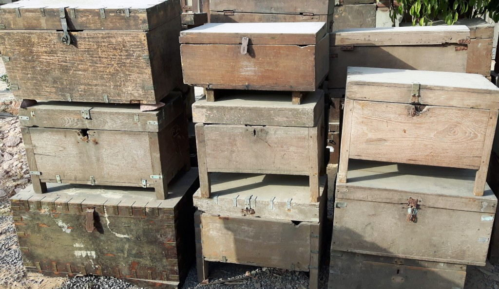old storage chests waiting to be restored