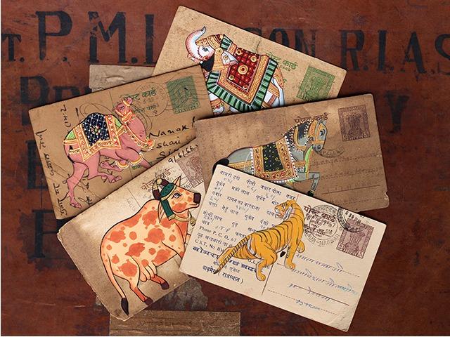 Hand Painted Vintage Indian Postcard - Set of Five, £15