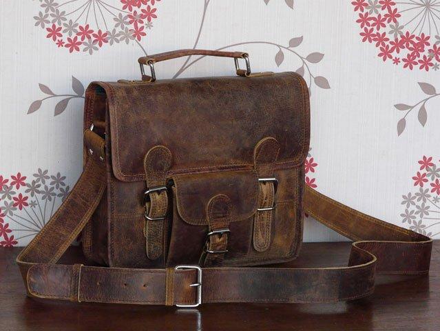 Mini Wide Leather Satchel, £65