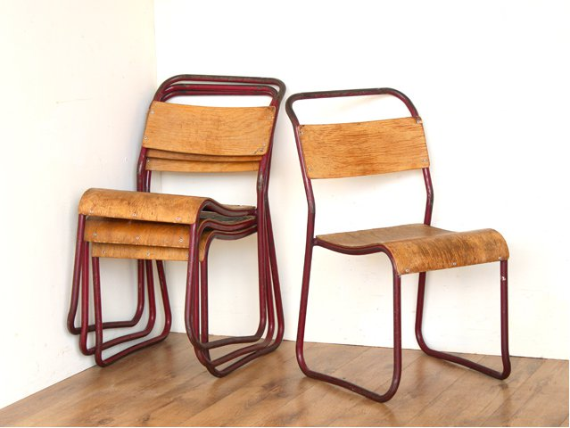 Red Vintage Stacking Chairs, £85 per pair