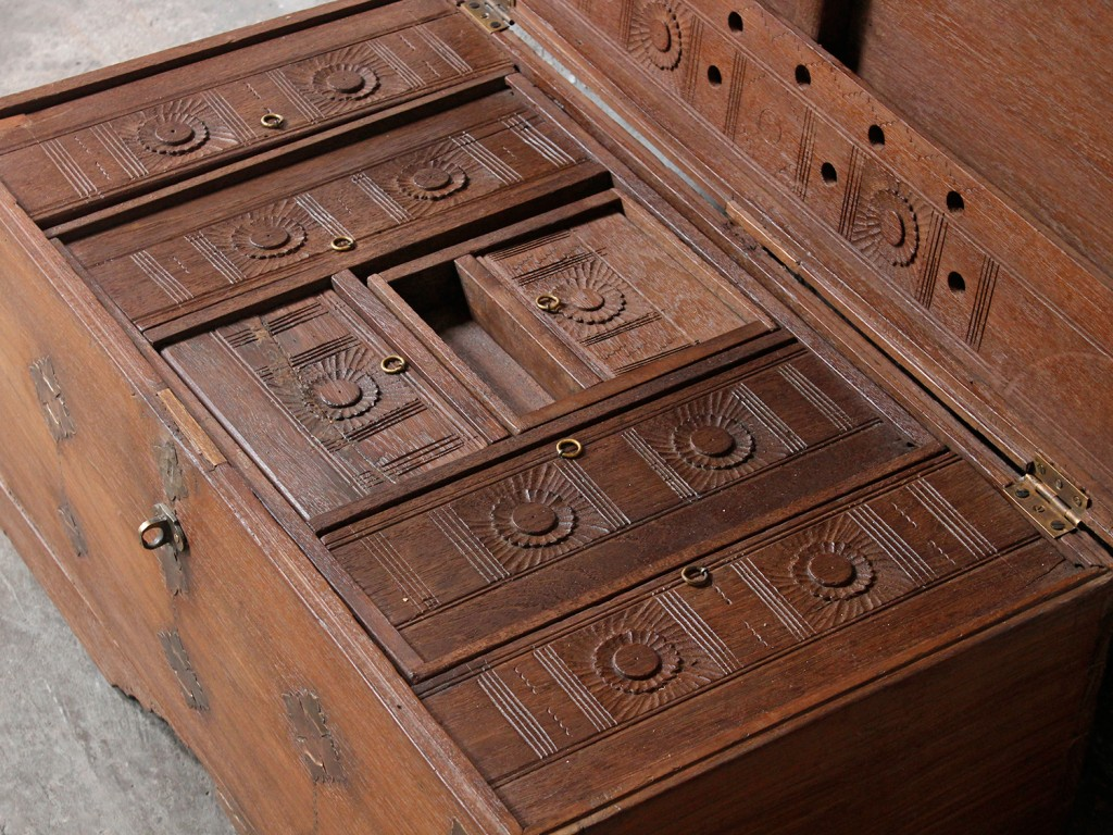 Antique chest used in King John's Palace to store coins and jewels