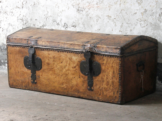 View our  Antique Georgian Leather Trunk from the  Old Travel Trunks collection