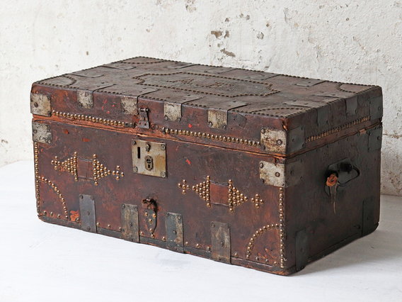 View our  Antique Georgian Leather Travel Trunk from the   collection