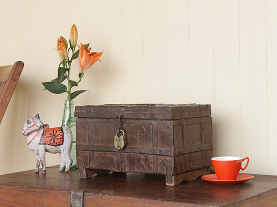 View our  Vintage Metal-Clad Trinket Box With Padlock from the   collection
