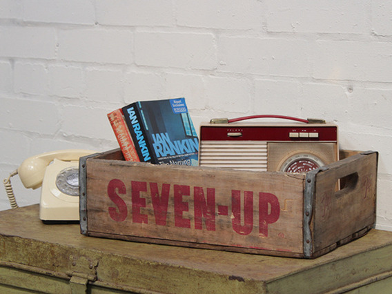 View our  Vintage 7 Up Wooden Crate from the   collection