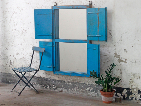 Antique Blue Window Frame Mirror