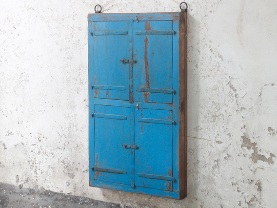 View our  Antique Blue Window Frame Mirror from the  Wooden Mirrors collection
