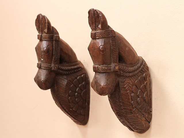 View our  Antique Hand Carved Wooden Marwari Horse Heads (Pair) from the  Architectural collection