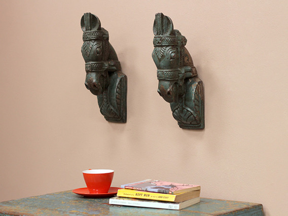 View our  Antique Marwari Horses Head Pair from the  Vintage Wooden Pots collection