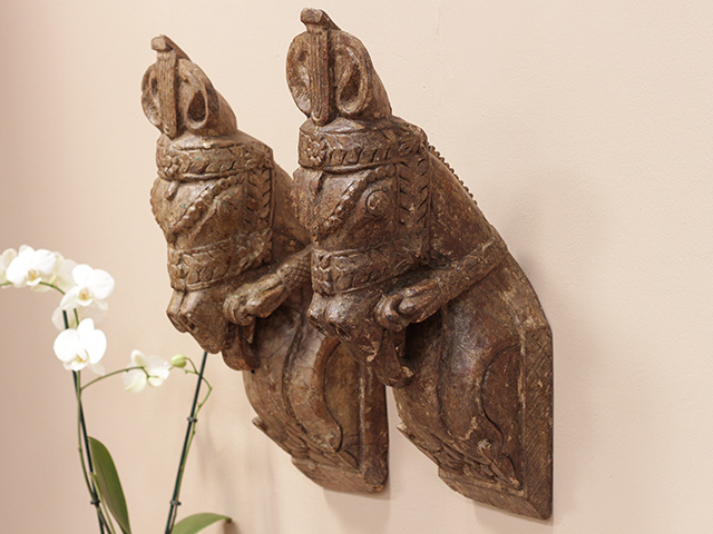 View our  Antique Wooden Marwari Horse Heads (Pair) from the  Architectural collection