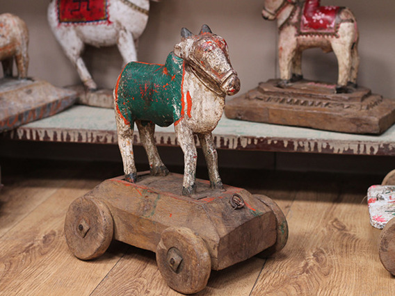 View our  Antique Wooden Temple Cow Toy from the  Vintage & Retro Lighting collection