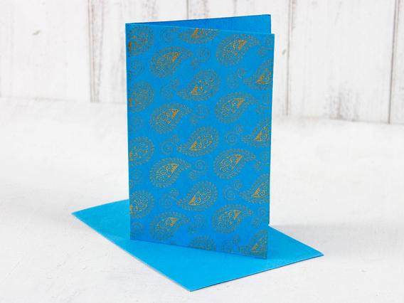 Blue Paisley Printed Card