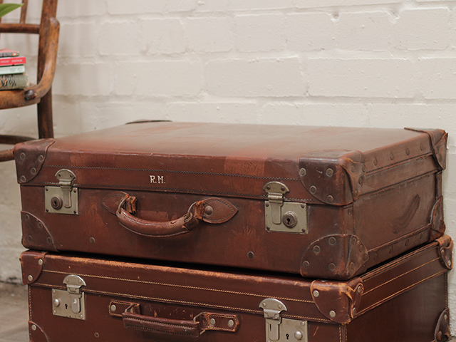 Classic Brown Leather Suitcase