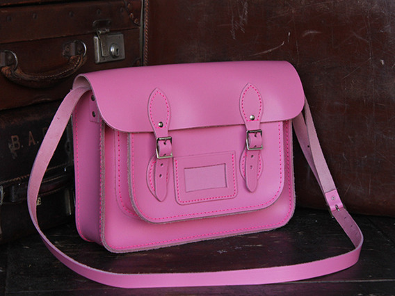 View our  Classic Pink Leather Satchel 13 Inch from the   collection